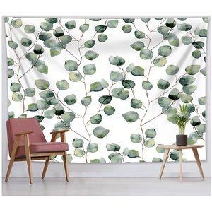 Boho Eucalyptus Watercolor Leaf Plant Tapestry